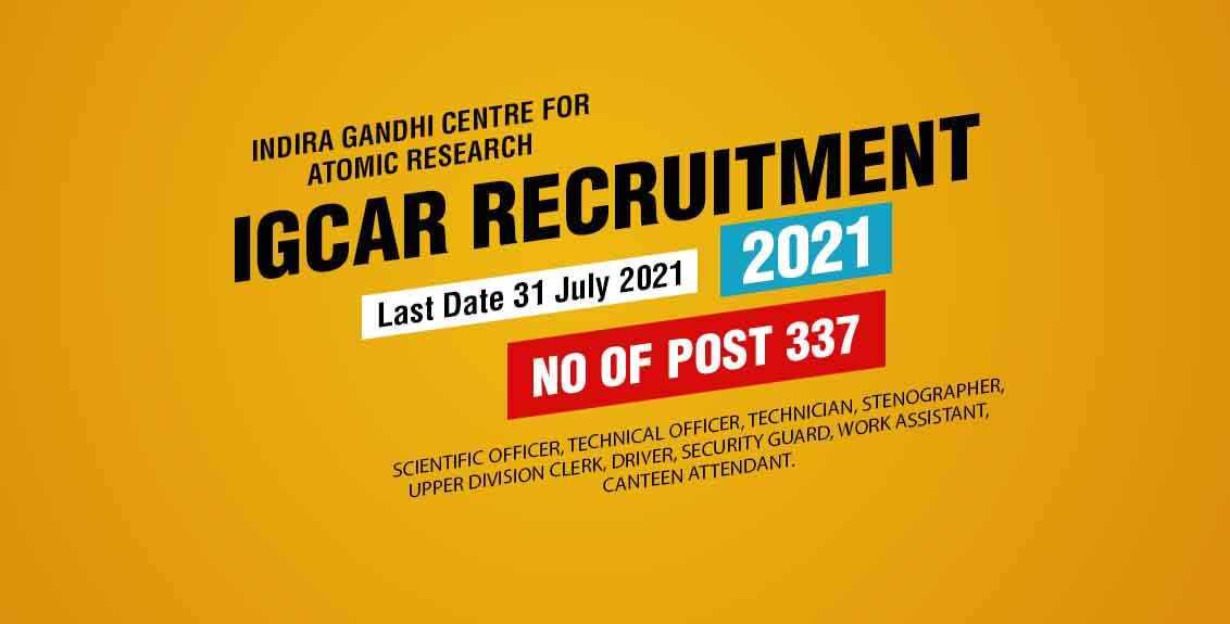 IGCAR Recruitment 2021 Job Listing Thumbnail.