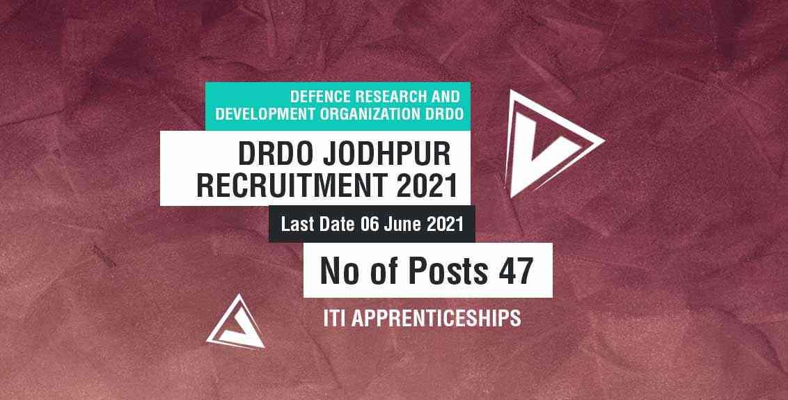 DRDO Jodhpur recruitment 2021 job listing thumbnail.