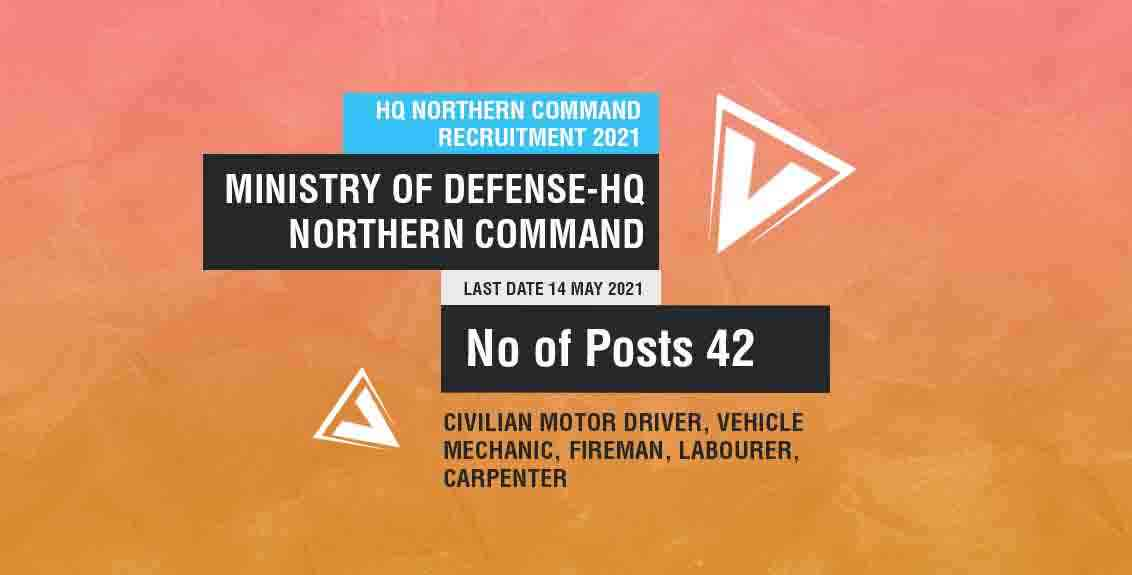 HQ Northern Command Recruitment 2021: Ministry of Defense-HQ Northern Command Job Listing thumbnail.