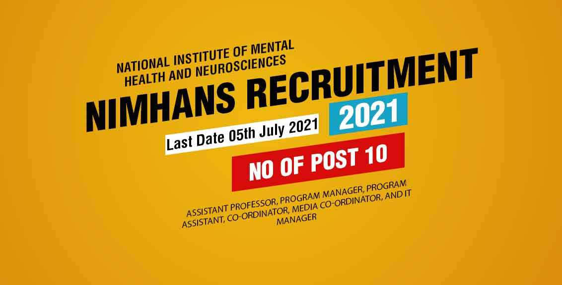 NIMHANS Recruitment 2021 Job Listing thumbnail.