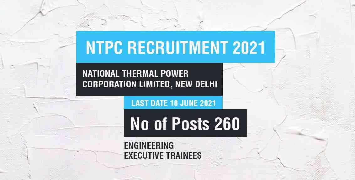 NTPC recruitment 2021: National Thermal Power Corporation Limited, New Delhi Job Listing thumbnail.