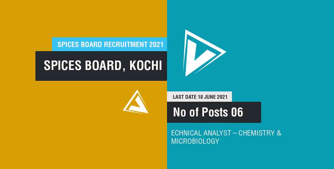 Spices Board Recruitment 2021 : SPICES BOARD India. Job Listing thumbnail.