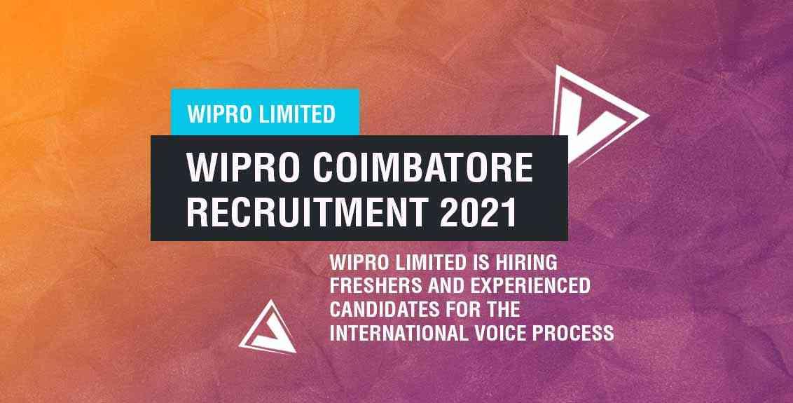 Wipro Coimbatore recruitment 2021 job listing thumbnail.