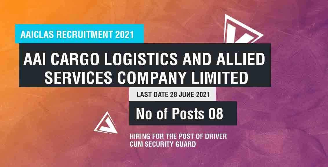 AAICLAS Recruitment 2021 job listing thumbnail.