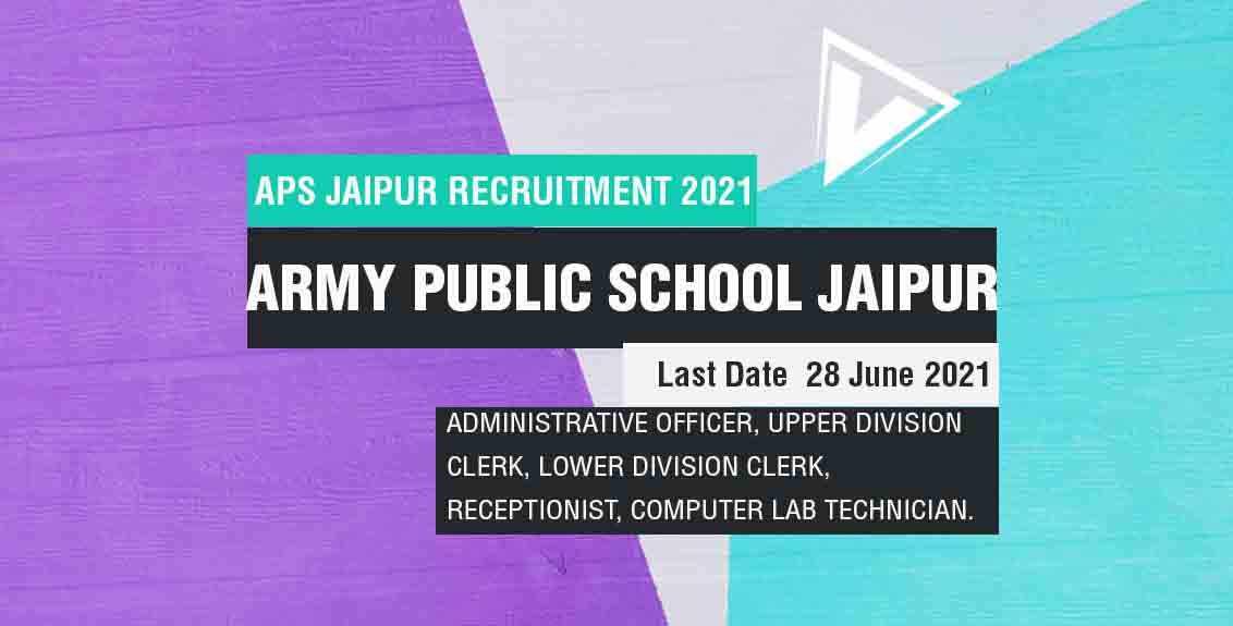 APS Jaipur Recruitment 2021 Job Listing Thumbnail.