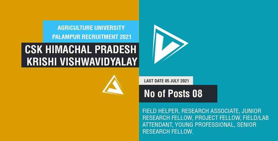 Agriculture University Palampur Recruitment 2021 Job Listing Thumbnail.