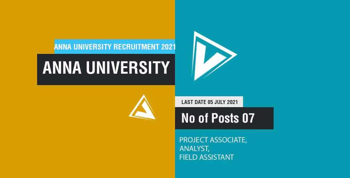 Anna University Recruitment 2021 Job Listing thumbnail.