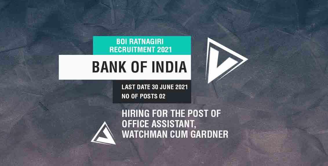 BOI Ratnagiri Recruitment 2021 Job Listing thumbnail.
