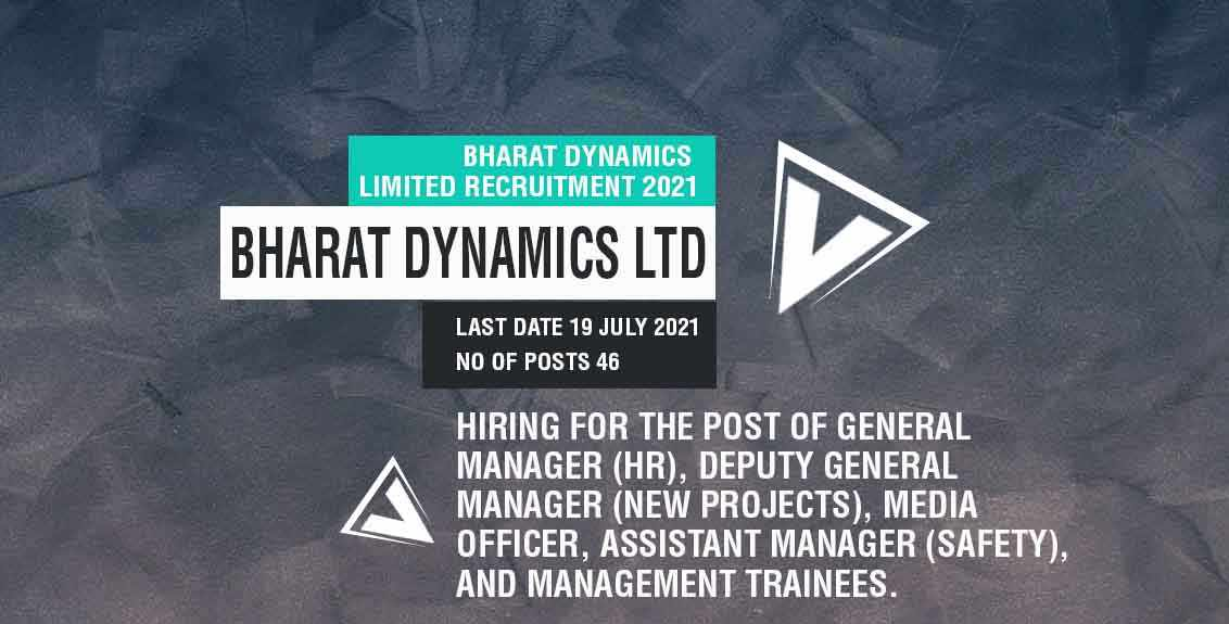 Bharat Dynamics Limited Recruitment 2021 job listing thumbnail.