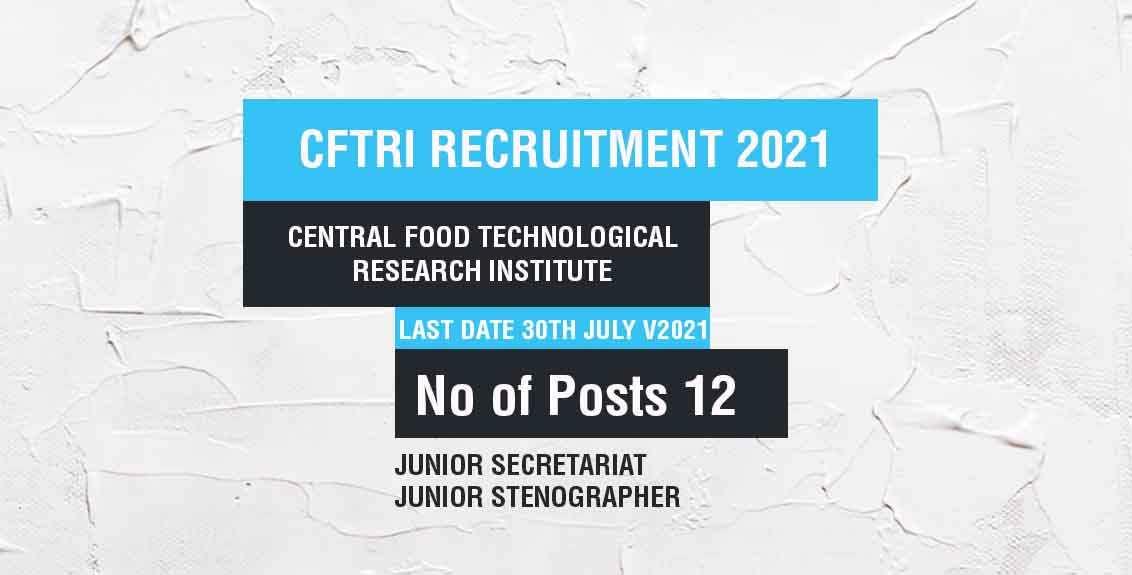 CFTRI Recruitment 2021 Job Listing thumbnail.