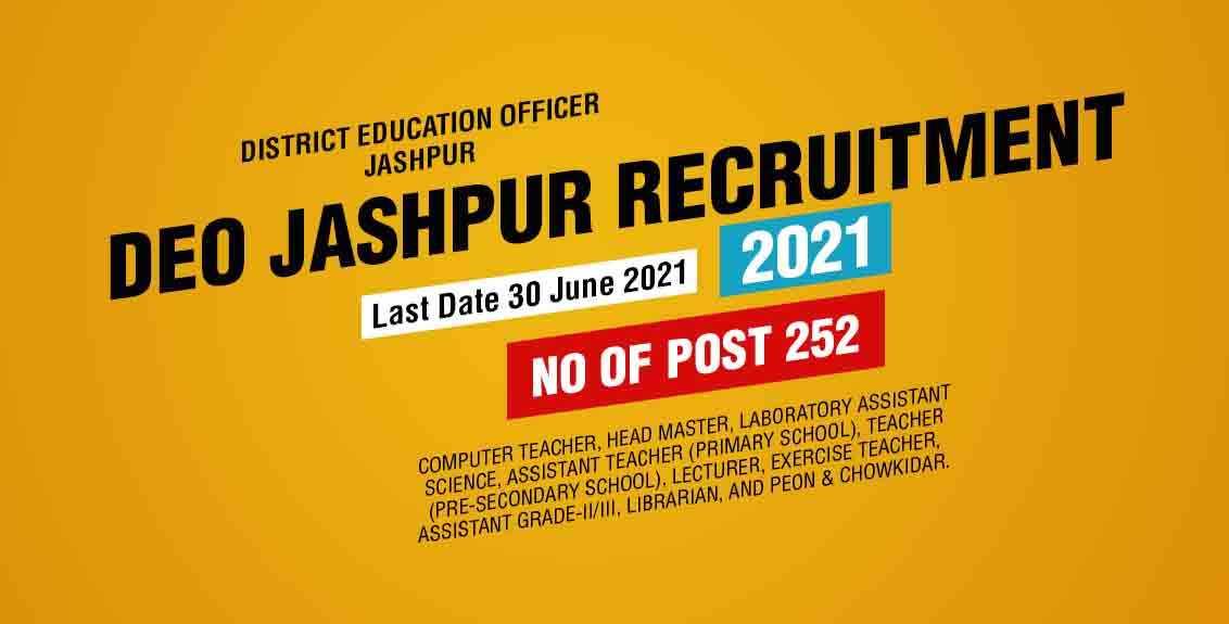 DEO Jashpur Recruitment 2021 Job Listing Thumbnail.