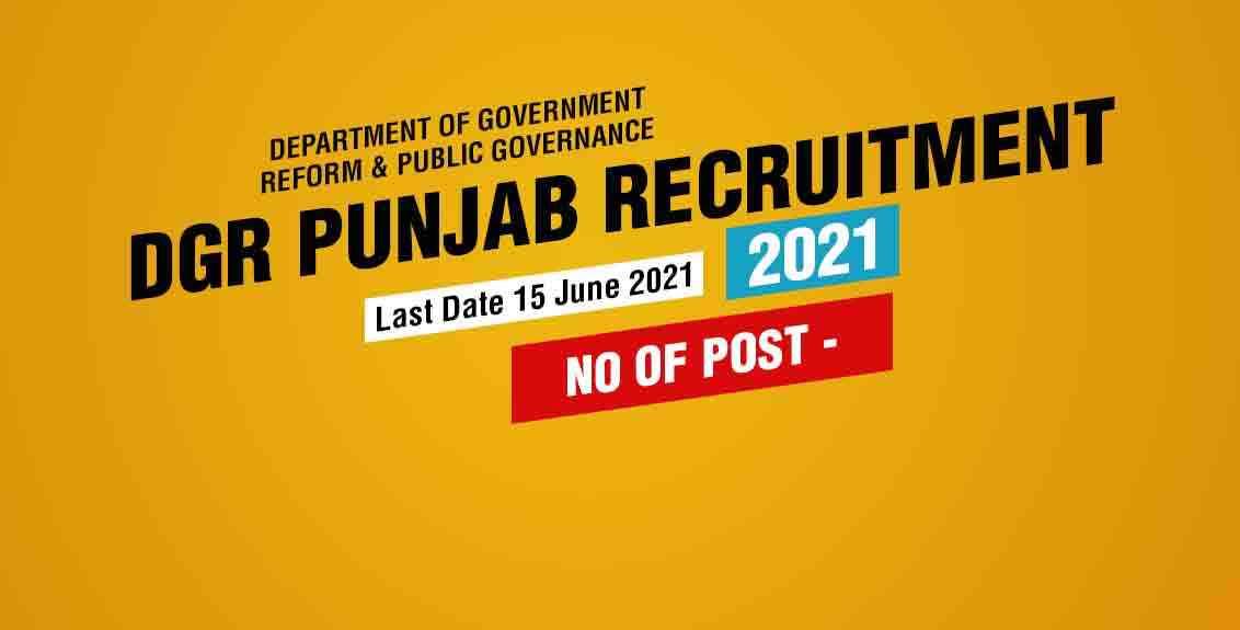 DGR Punjab Recruitment 2021 Job Listing Thumbnail.