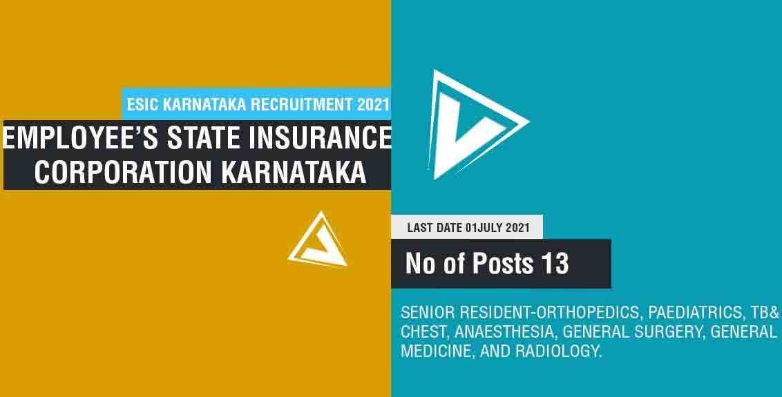 ESIC Karnataka Recruitment 2021 Job Listing thumbnail.