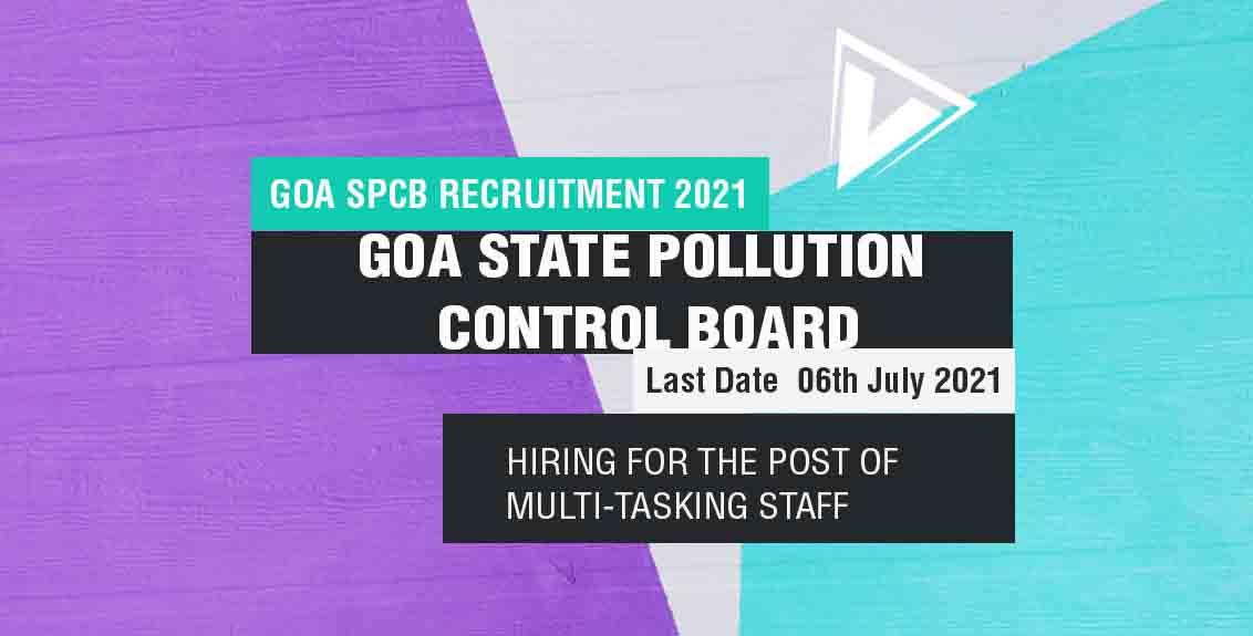 Goa SPCB Recruitment 2021 Job Listing Thumbnail.