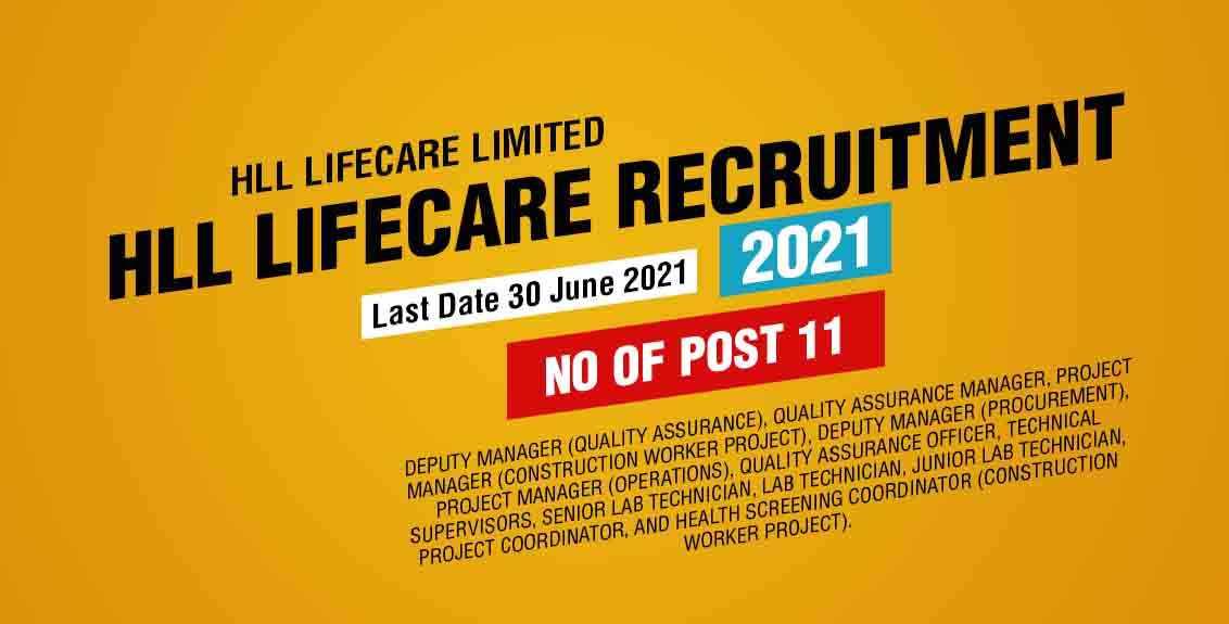 HLL Lifecare Recruitment 2021 Job Listing thumbnail.