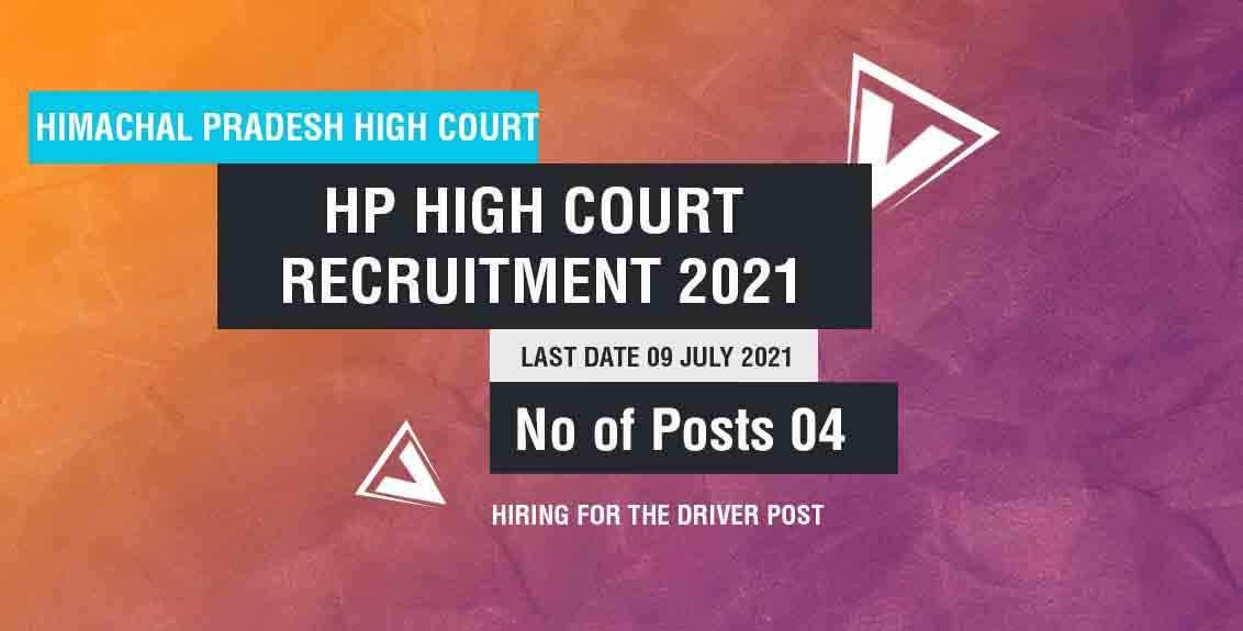 HP High Court Recruitment 2021 Job Listing thumbnail.