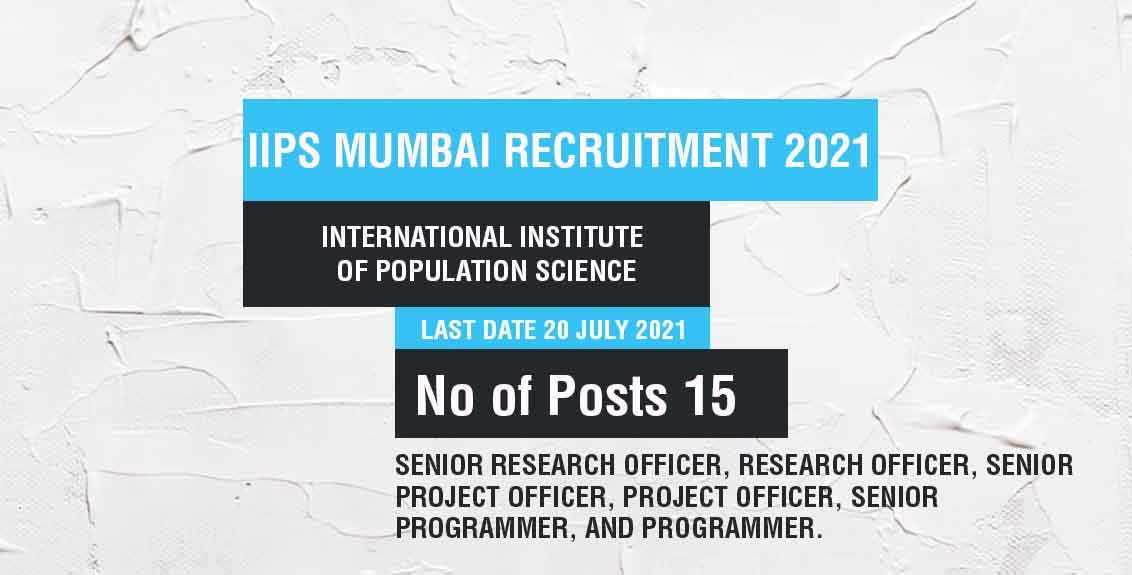 IIPS Mumbai recruitment 2021 job listing thumbnail.