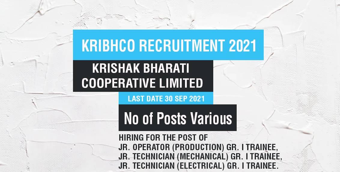 KRIBHCO Recruitment 2021 Job Listing thumbnail.