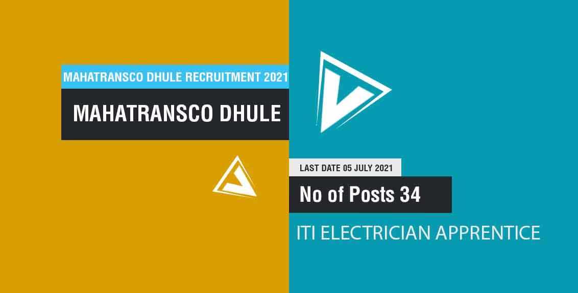 MahaTransco Dhule Recruitment 2021 Job Listing Thumbnail.