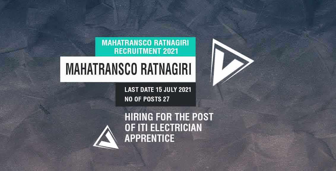MahaTransco Ratnagiri Recruitment 2021 job listing thumbnail.