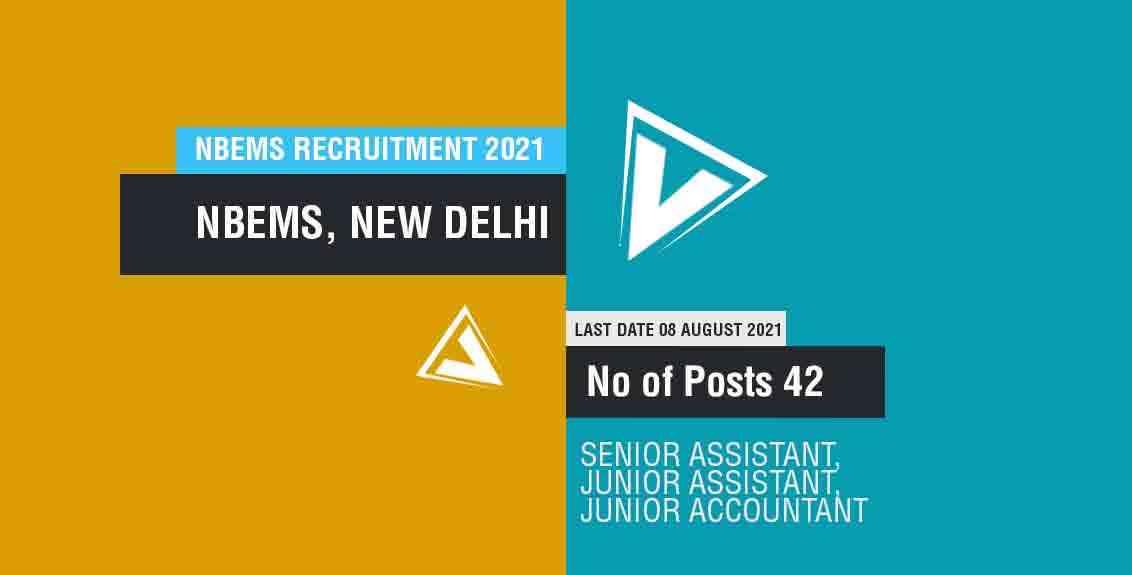 NBEMS Recruitment 2021 Job Listing thumbnail.