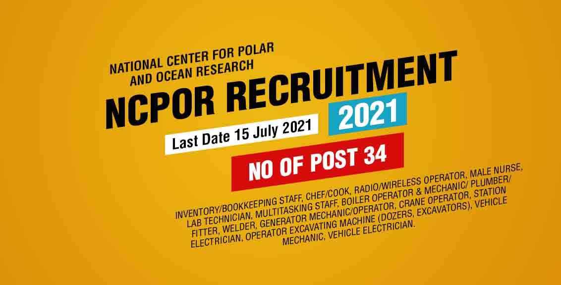 NCPOR Recruitment 2021 Job Listing Thumbnail.