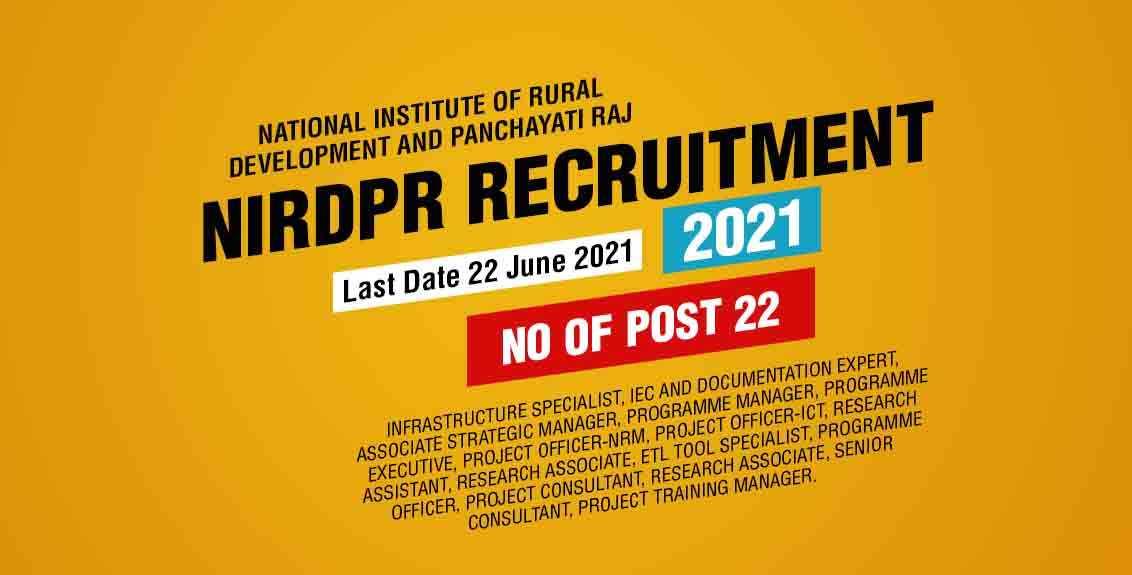 NIRDPR Recruitment 2021 Job Listing Thumbnail.