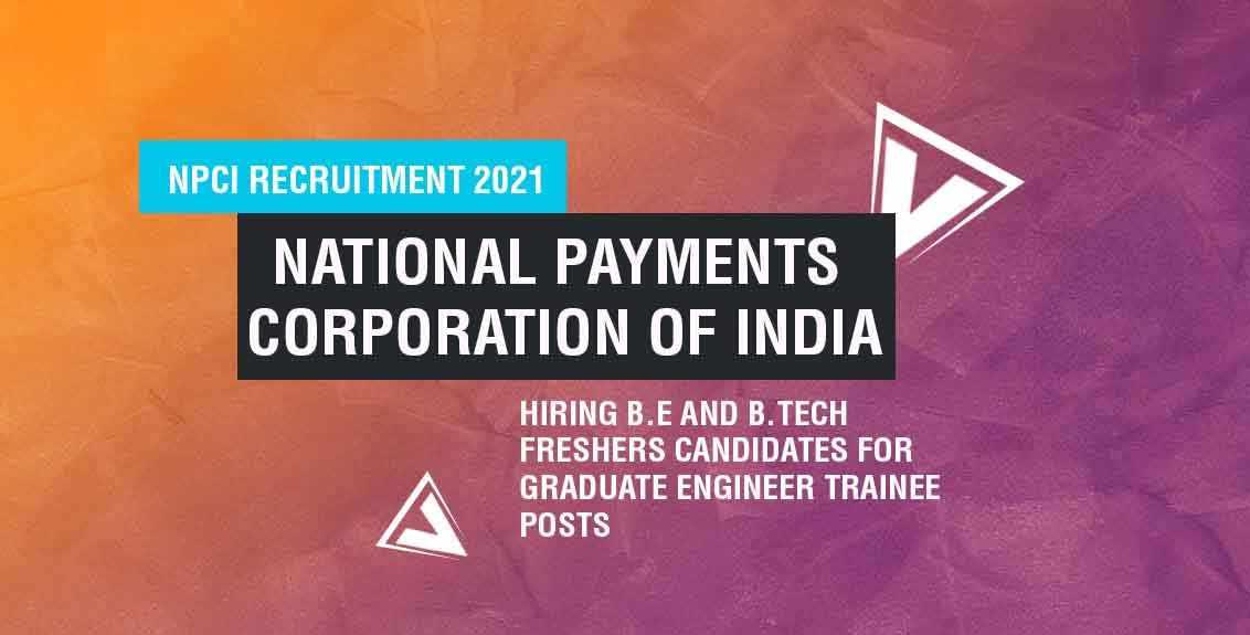 NPCI Recruitment 2021 job listing thumbnail.