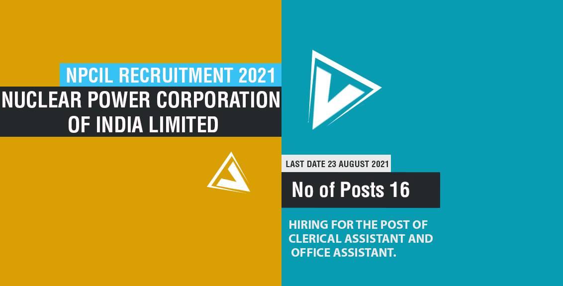 NPCIL Recruitment 2021 Job Listing thumbnail.