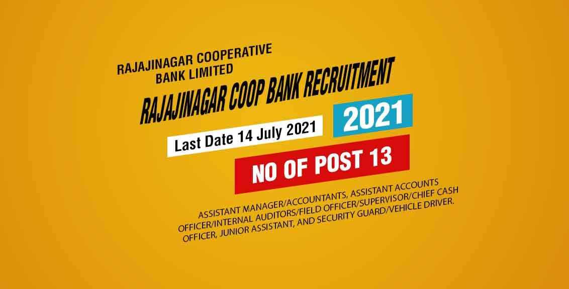 Rajajinagar Coop Bank Recruitment 2021 Job Listing Thumbnail.