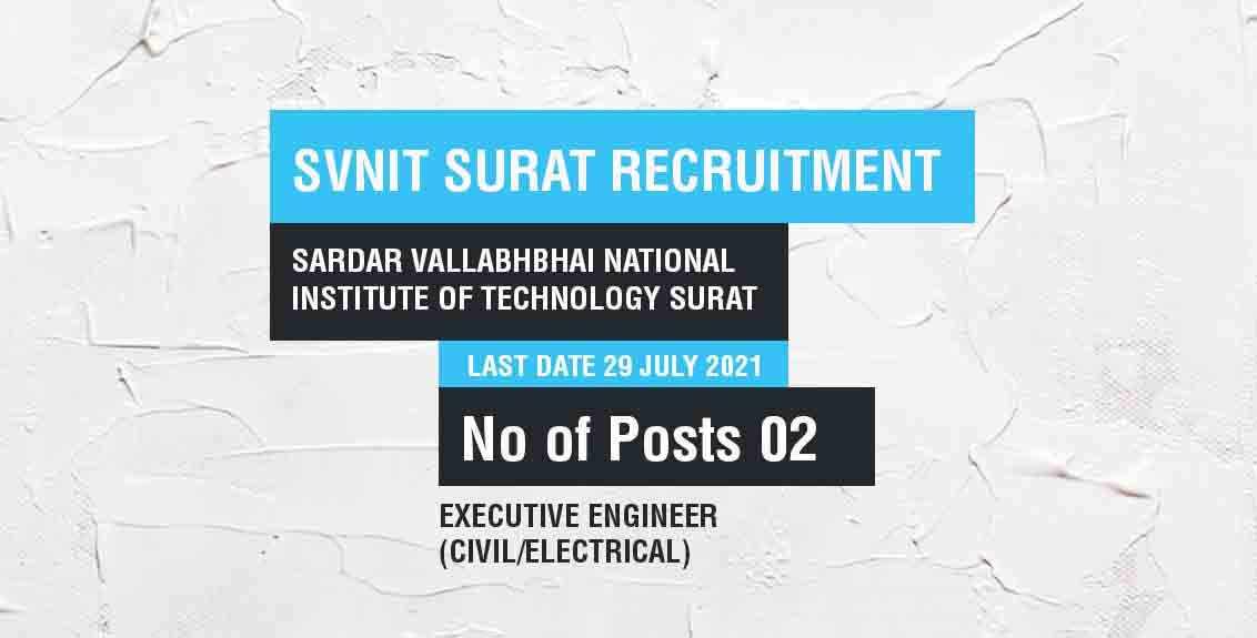 SVNIT Surat Recruitment 2021 Job Listing thumbnail.