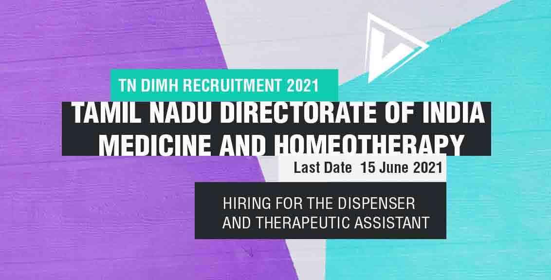 TN DIMH Recruitment 2021 job listing thumbanil.