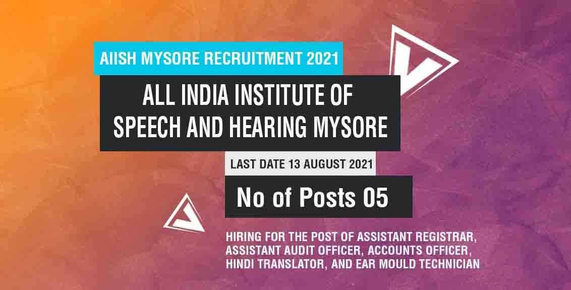 AIISH Mysore Recruitment 2021 Job Listing thumbnail.