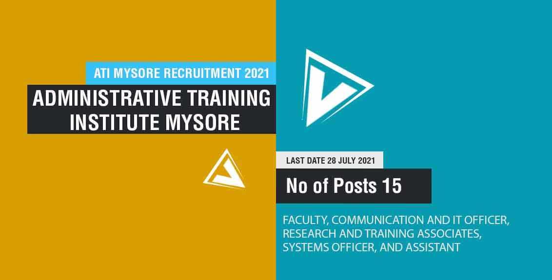ATI Mysore Recruitment 2021 Job Listing thumbnail.