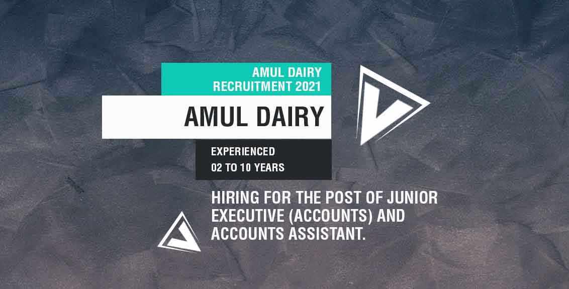 Amul Dairy Recruitment 2021 Job Listing Thumbnail.
