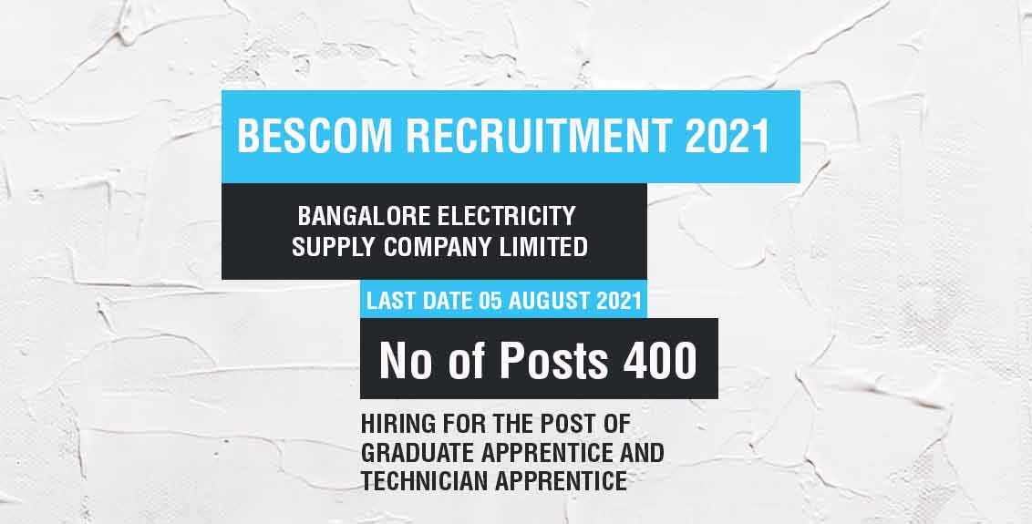 BESCOM Recruitment 2021 Job Listing thumbnail.