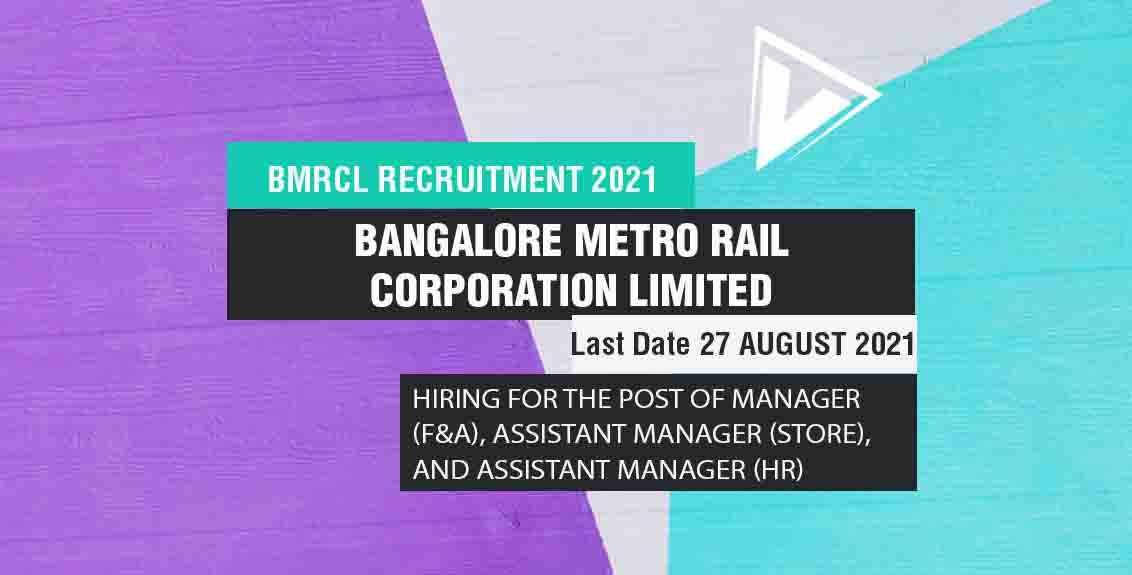 BMRCL Recruitment 2021 Job Listing thumbnail.