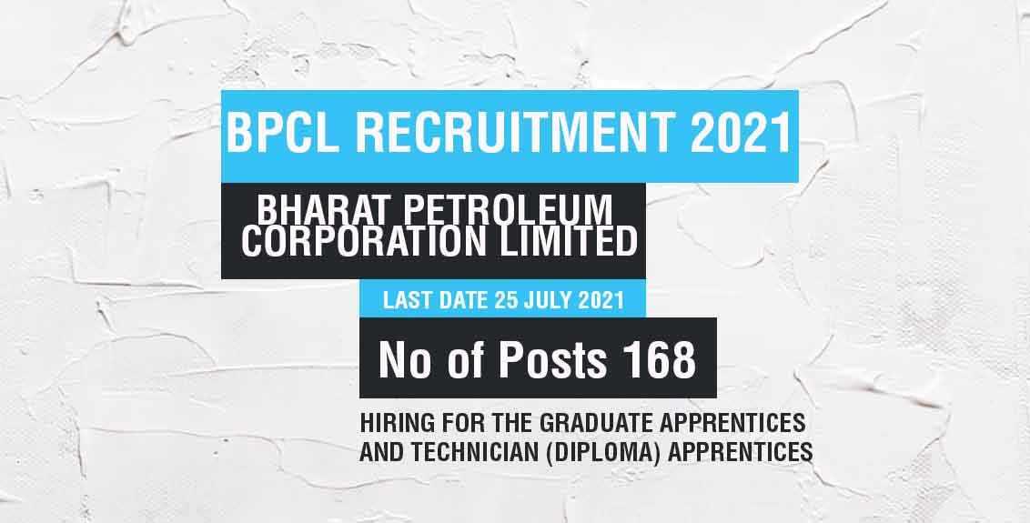 BPCL Recruitment 2021 Job Listing thumbnail.