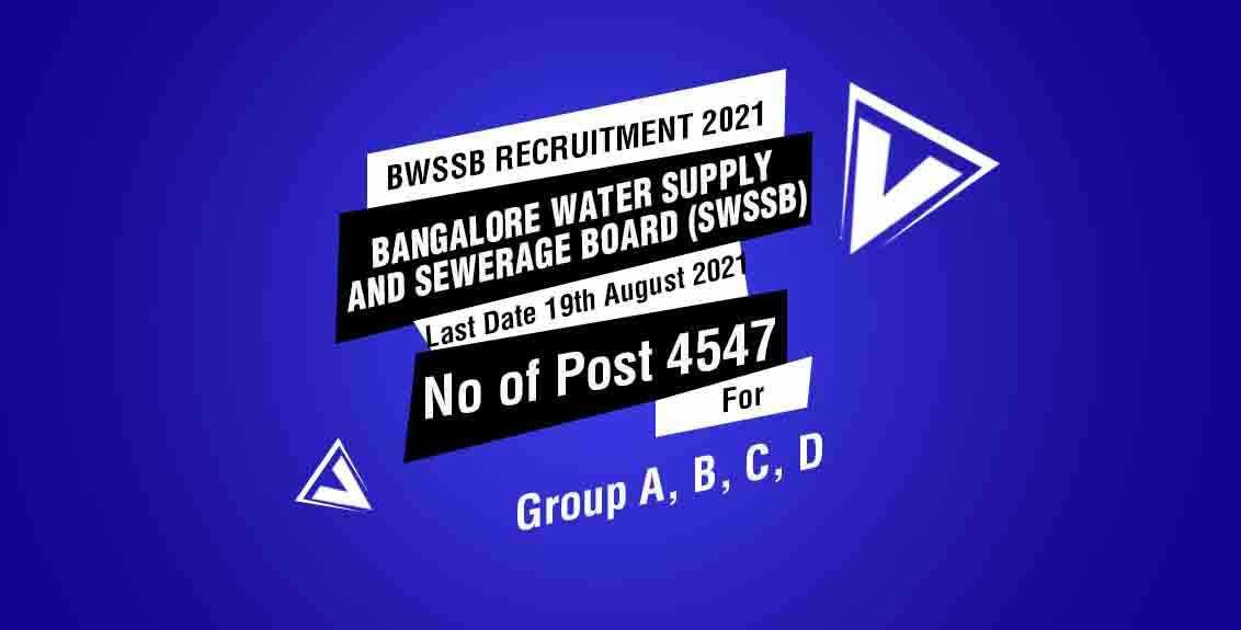 BWSSB Recruitment 2021 Job Listing thumbnail.