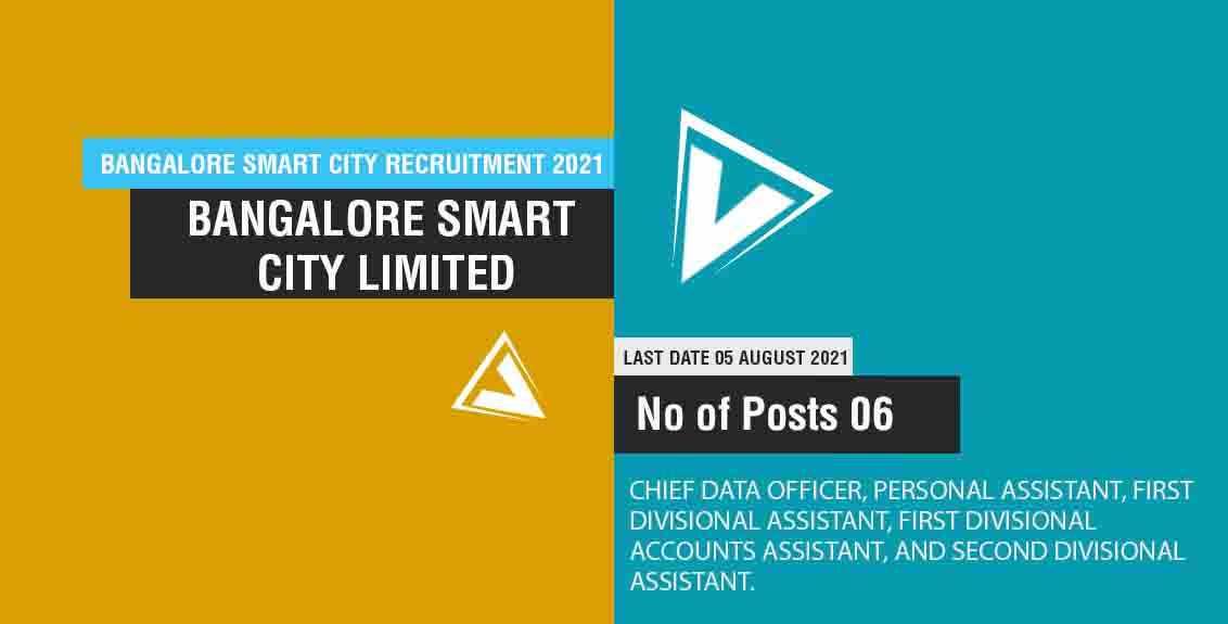 Bangalore Smart City Recruitment 2021 Job Listing thumbnail.