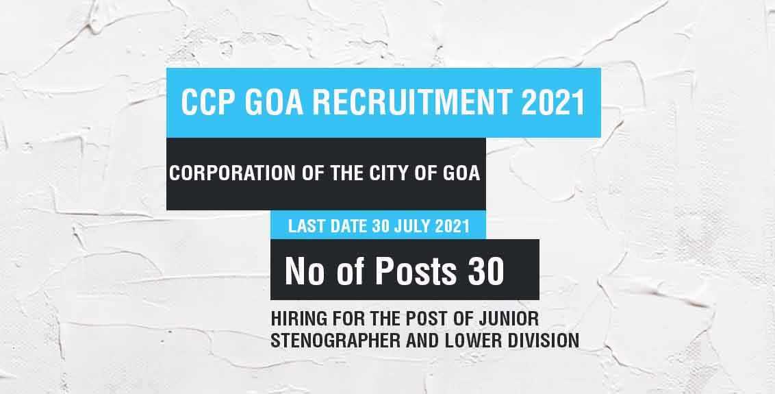 CCP Goa Recruitment 2021 Job Listing thumbnail.
