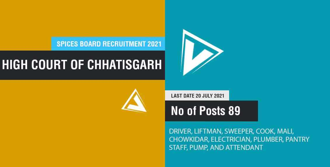 CG High Court Recruitment 2021 job listing