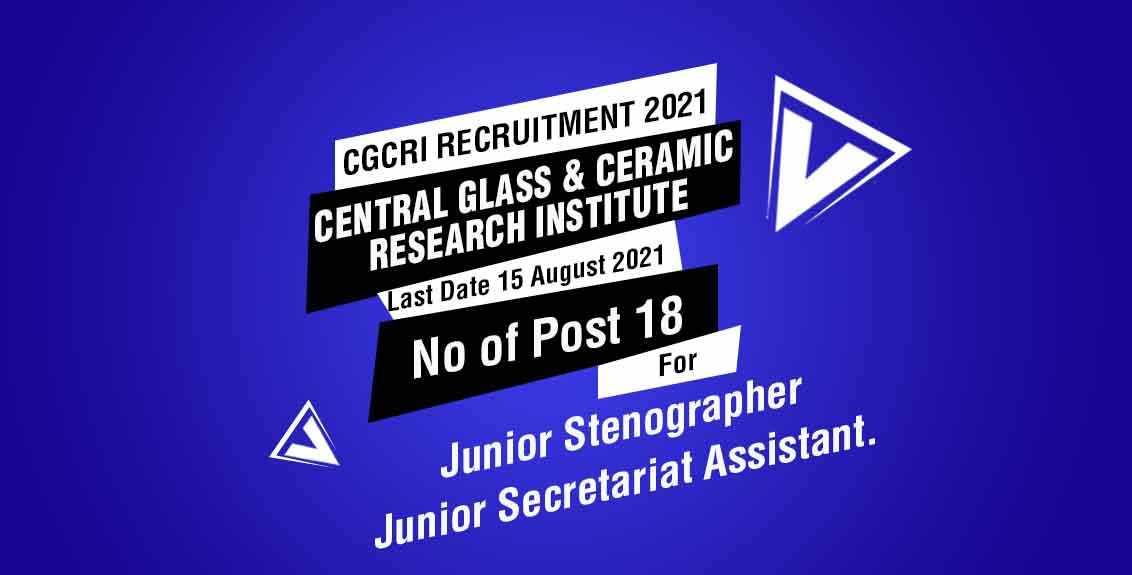 CGCRI Recruitment 2021 Job Listing Thumbnail.