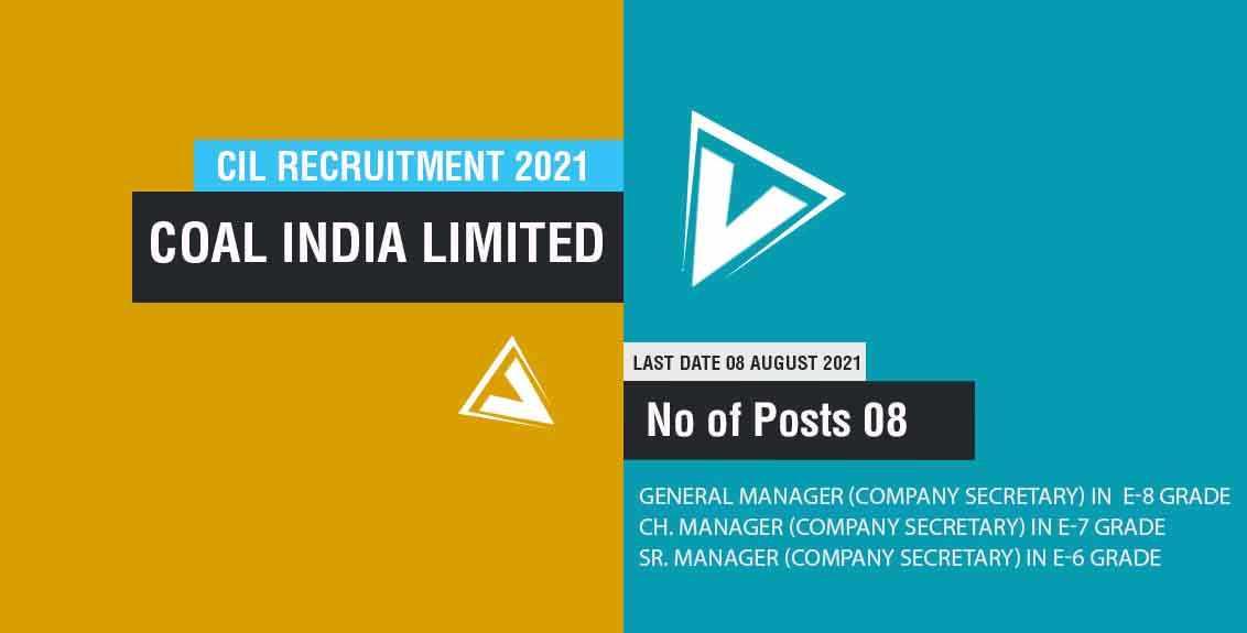 CIL Recruitment 2021 Job Listing thumbnail.