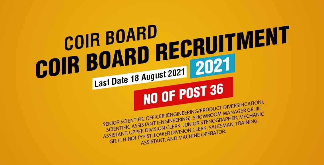 COIR Board Recruitment 2021 Job Listing thumbnail.