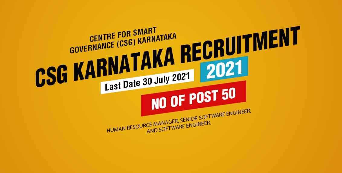 CSG Karnataka Recruitment 2021 Job Listing thumbnail.