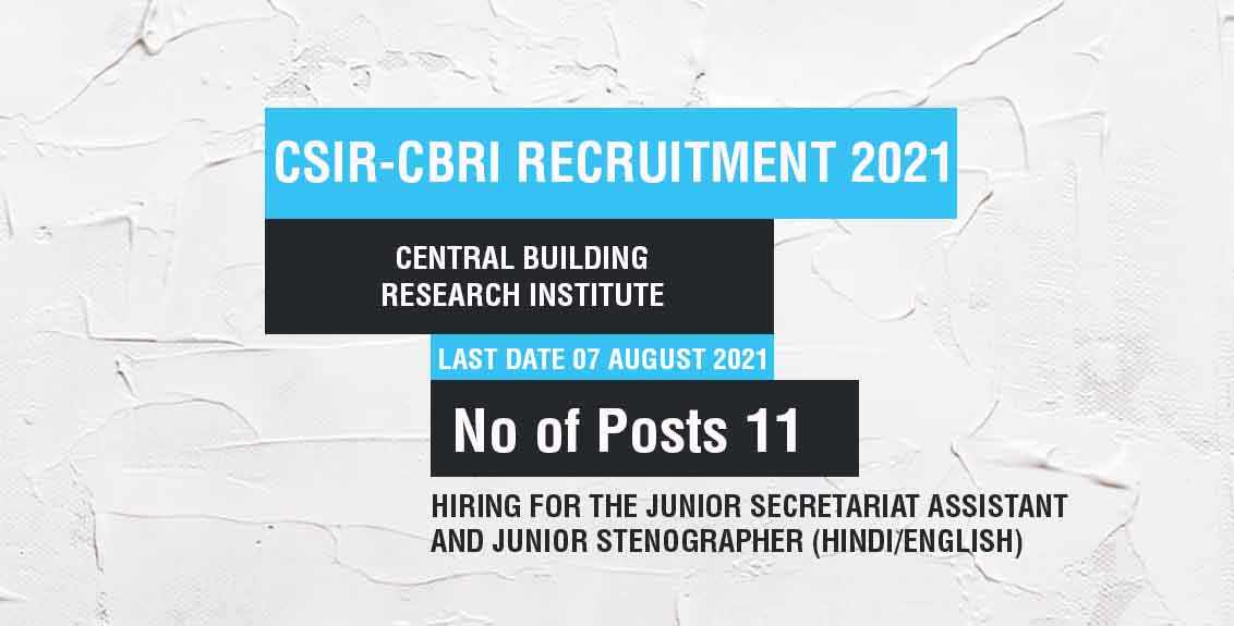 CSIR-CBRI Recruitment 2021 Job listing thumbnail.