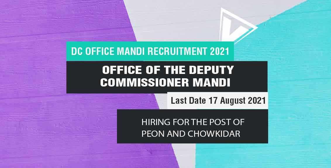 DC Office Mandi Recruitment 2021 Job Listing Thumbnail.