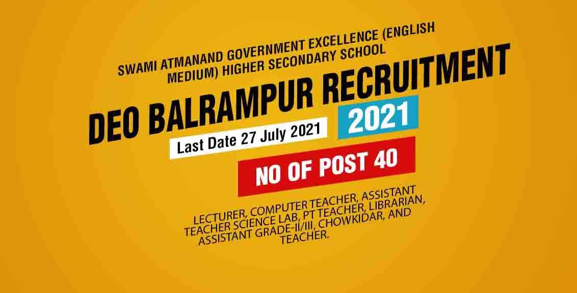 DEO Balrampur Recruitment 2021 Job Listing thumbnail.