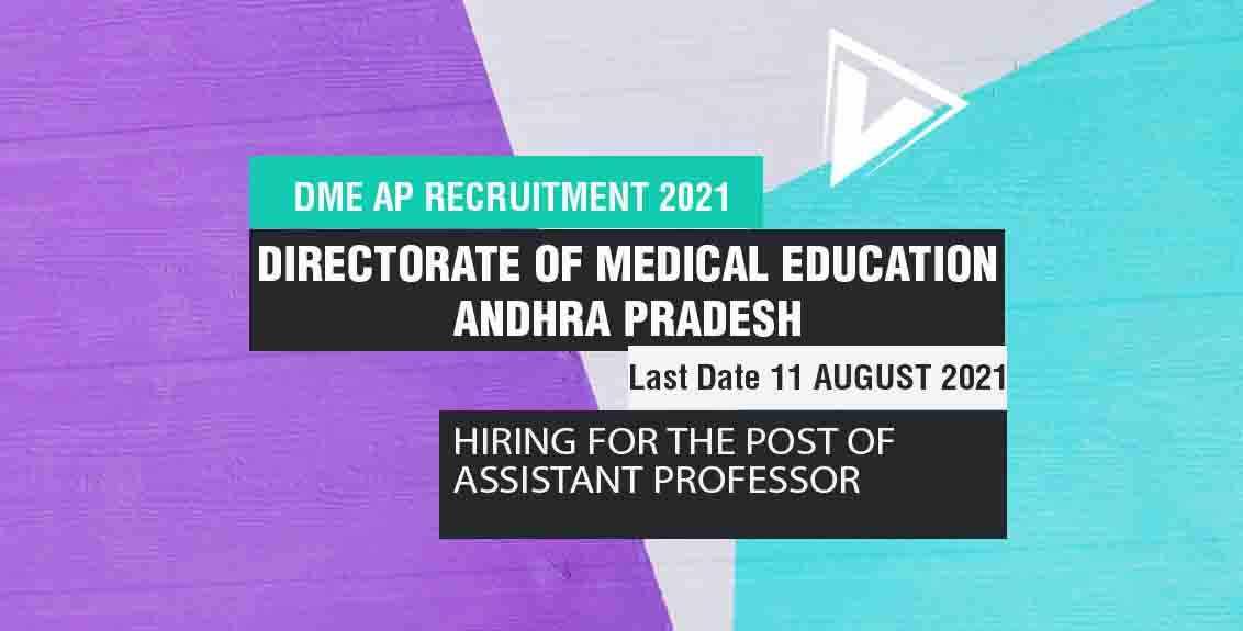 DME AP Recruitment 2021 job listing thumbnail.